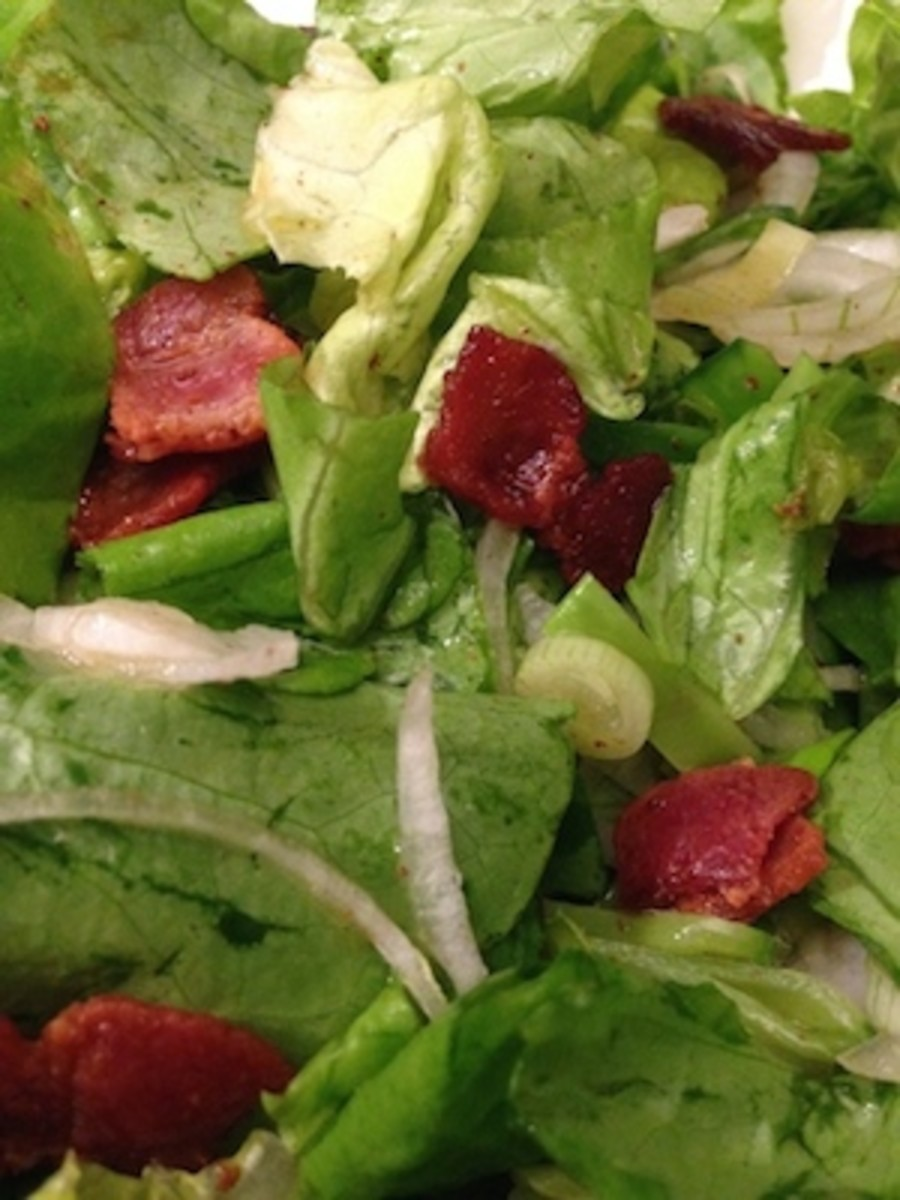 Salad dressing is made using bacon drippings instead of olive oil.