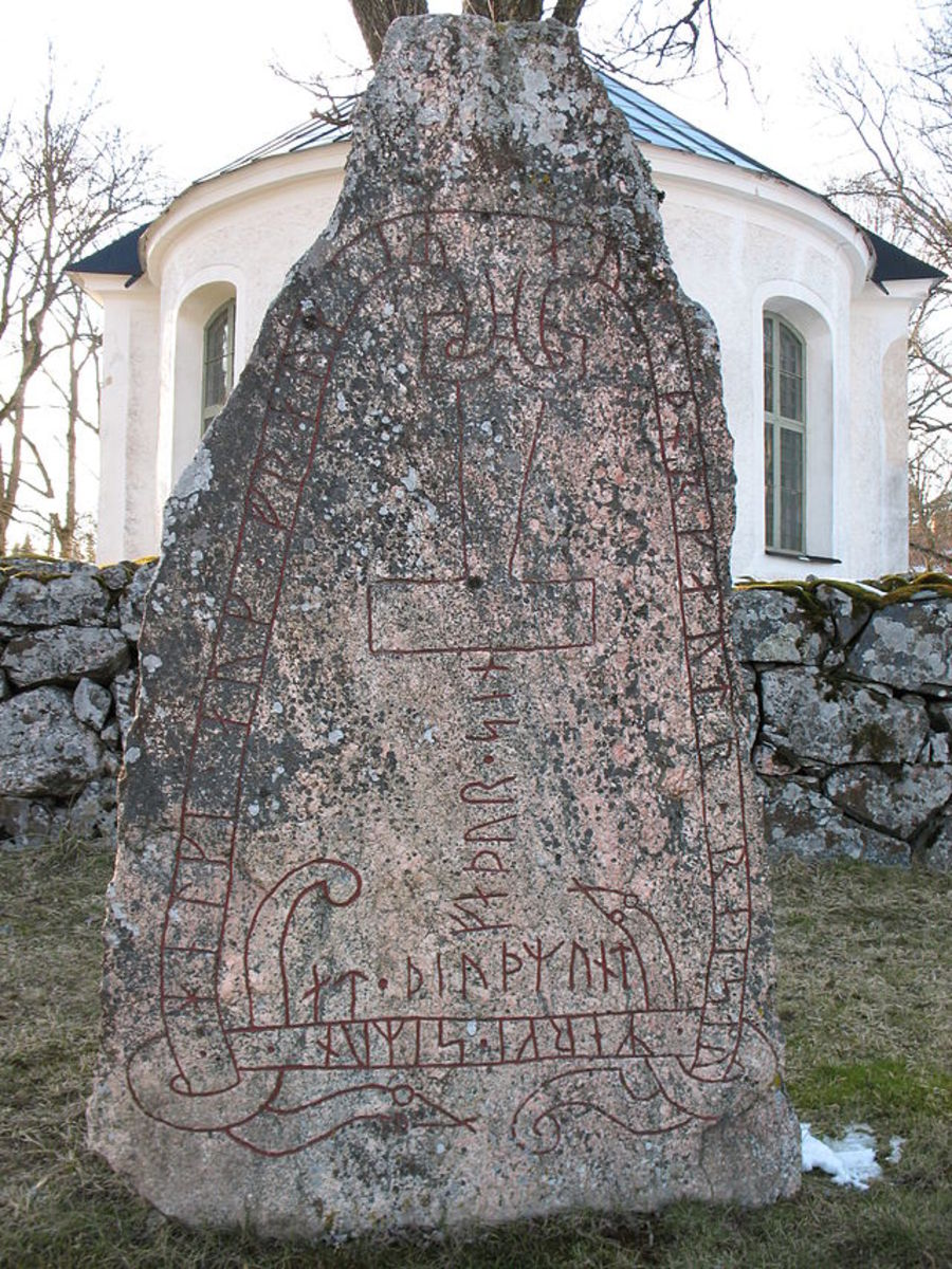 This runestone from Södermanland, Sweden, includes a depiction of Mjölnir
