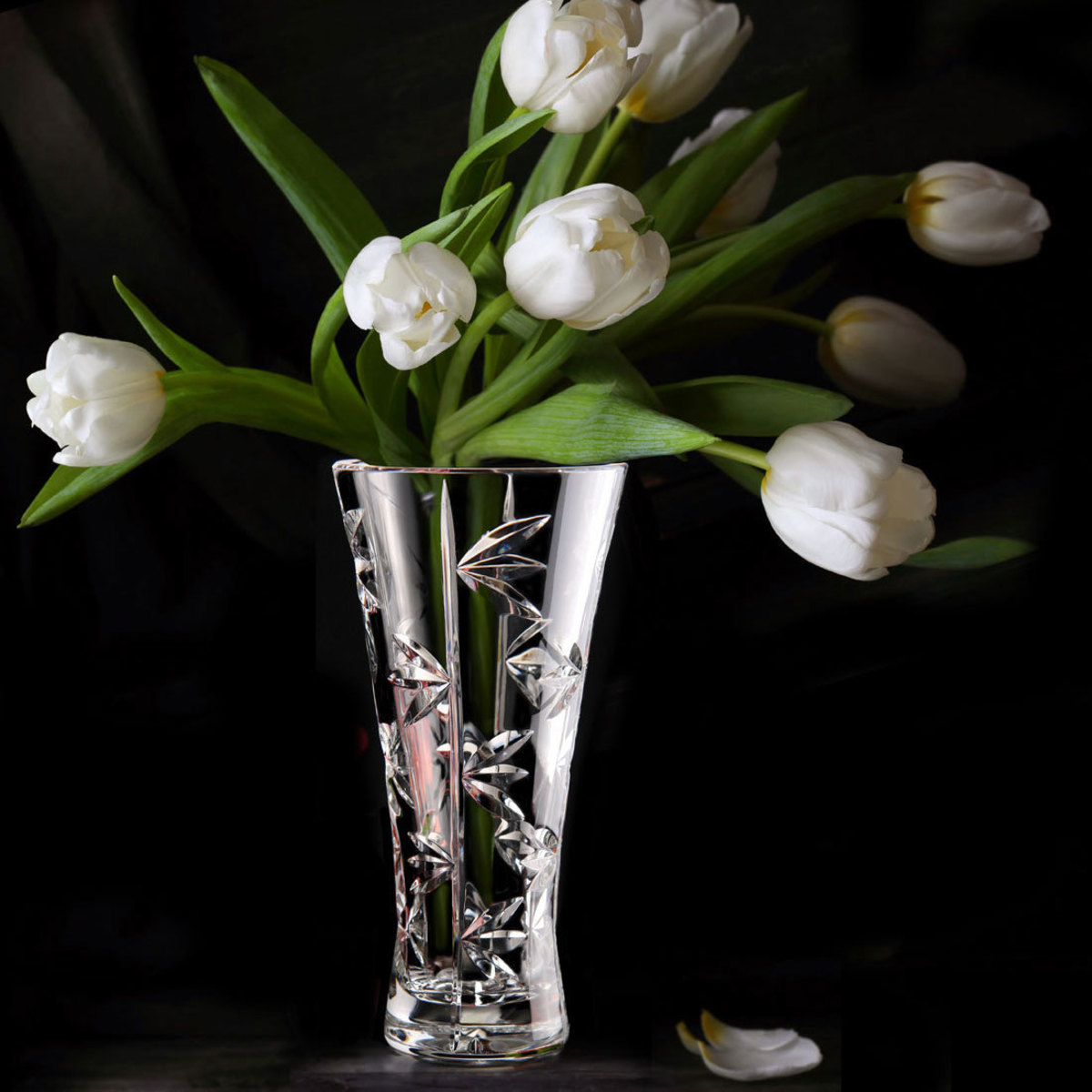The crystal Ireland vase in tulips.