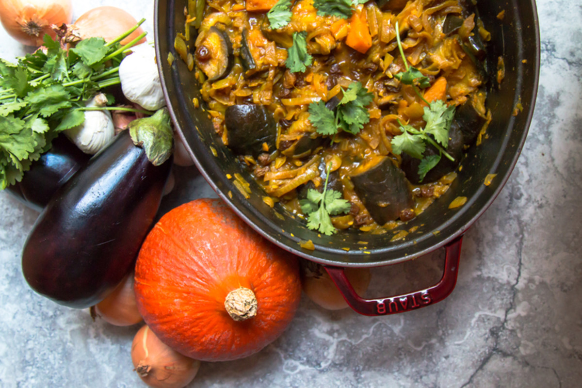 Eggplant (aubergine) and pumpkin tagine with caramelized onions