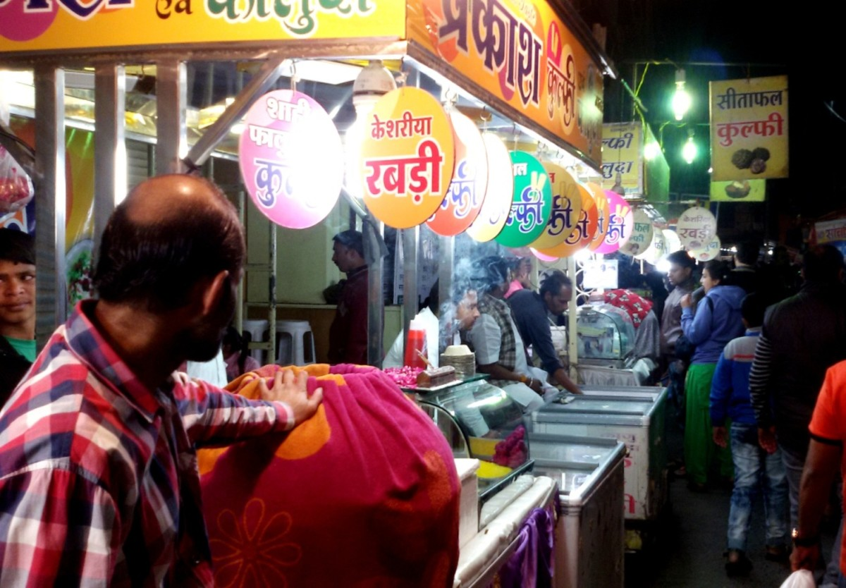 Colorful lights decorate the food-stalls