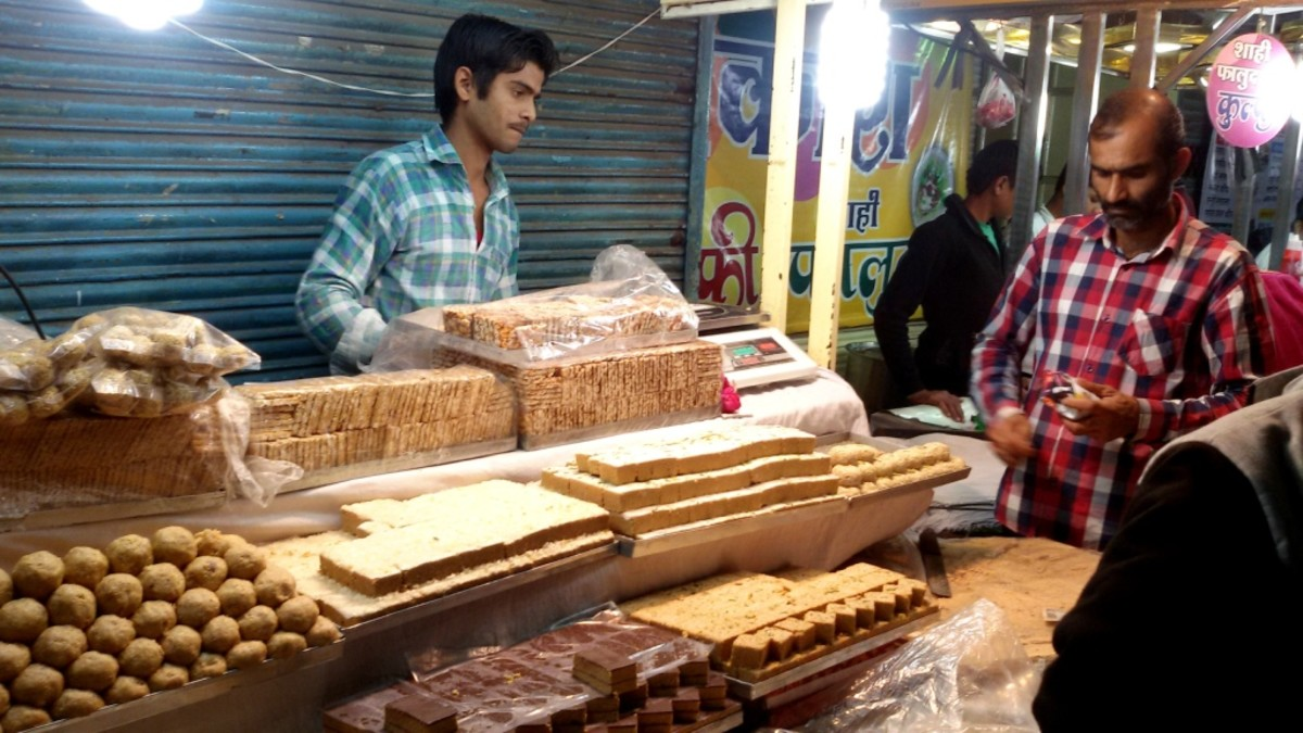 A shop selling sweets made from 'Teel' (Sesame seeds).