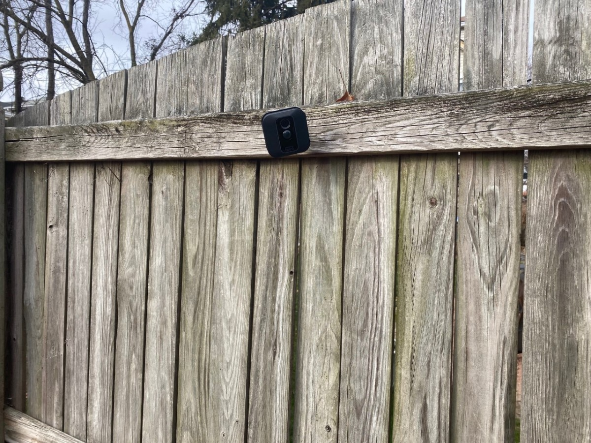 Mounted on my fence. No wires or cables