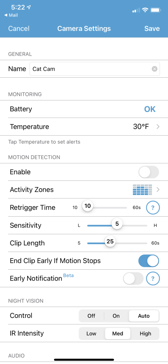 Camera options and adjustment screen on app