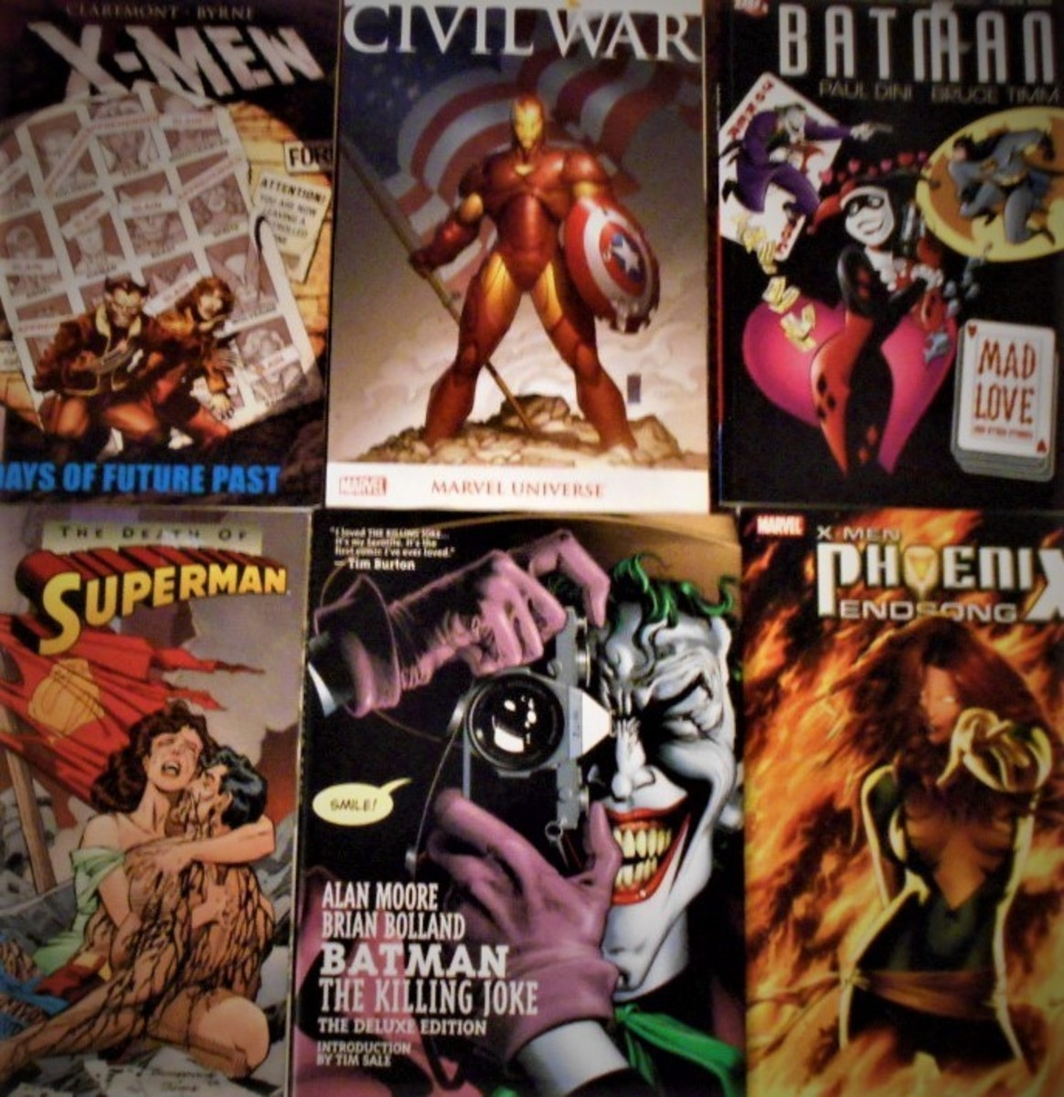 A sample of DC and Marvel graphic novels