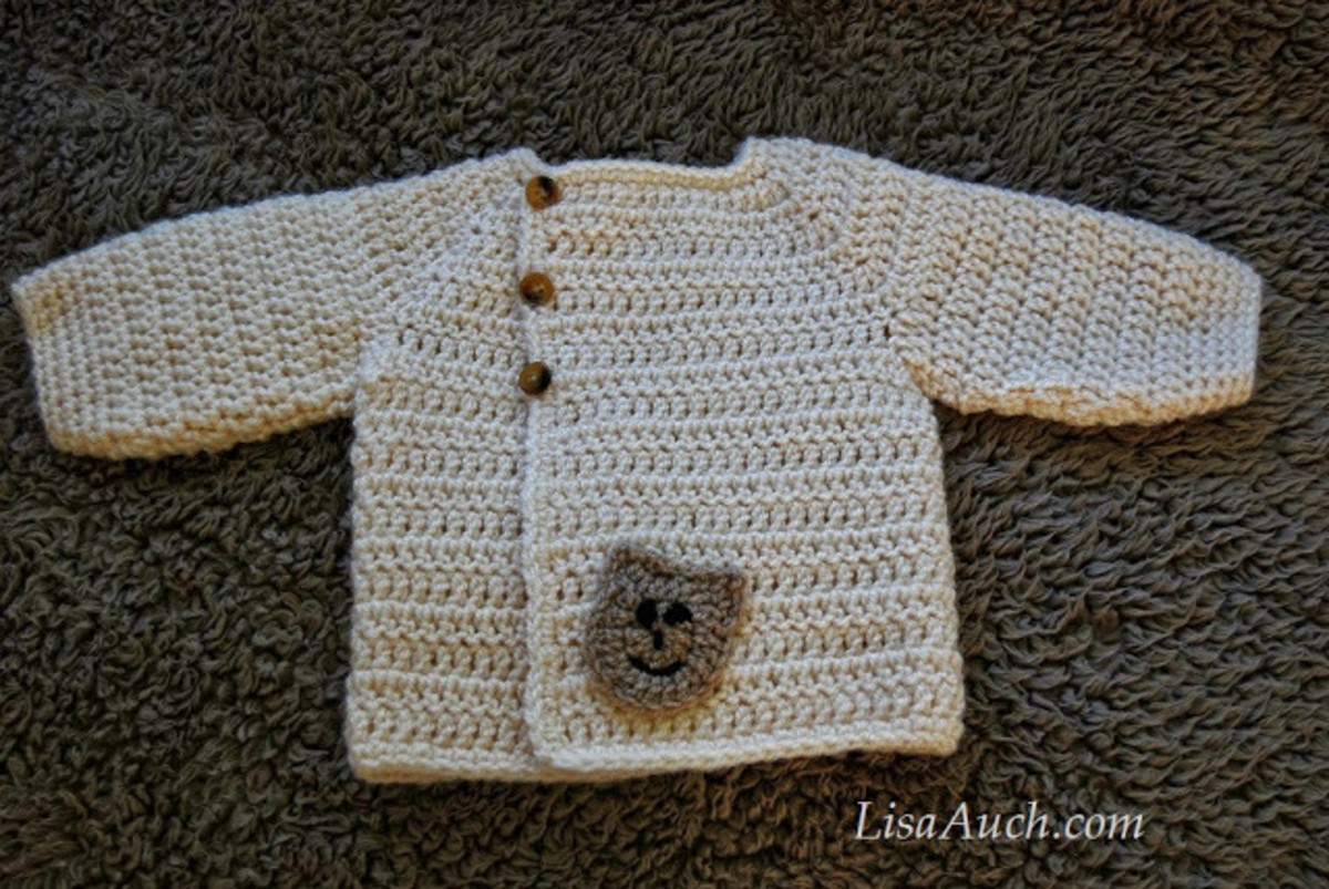 Easy baby cardigan crocheted from the TOP down