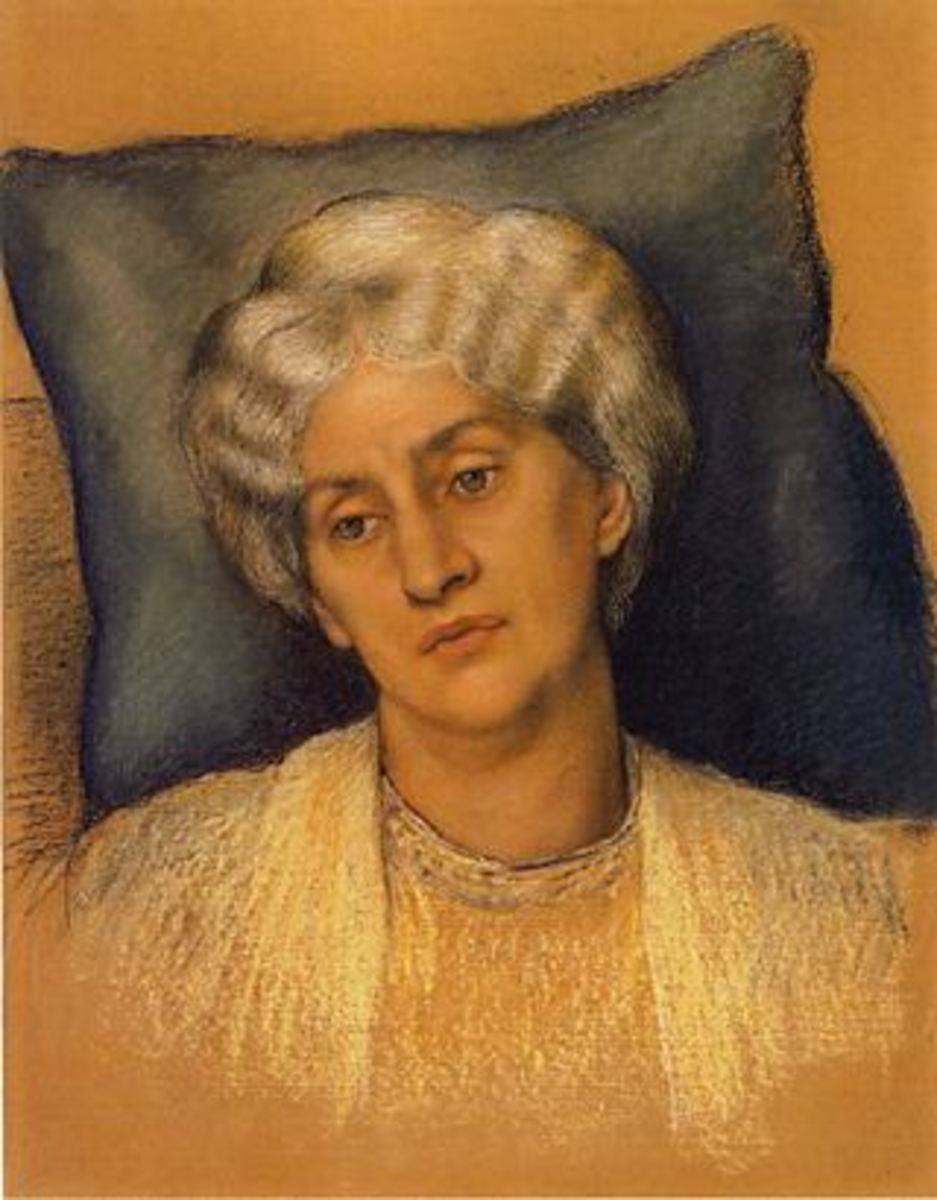 Portrait of an aging Jane Burden Morris, the wife of William Morris, by Evelyn de Morgan (1904)