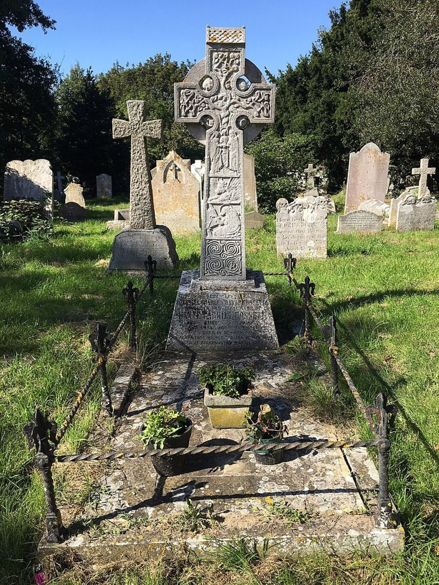 The grave of Dante Gabriel Rossetti in the churchyard of All Saints, Birchington-on-Sea