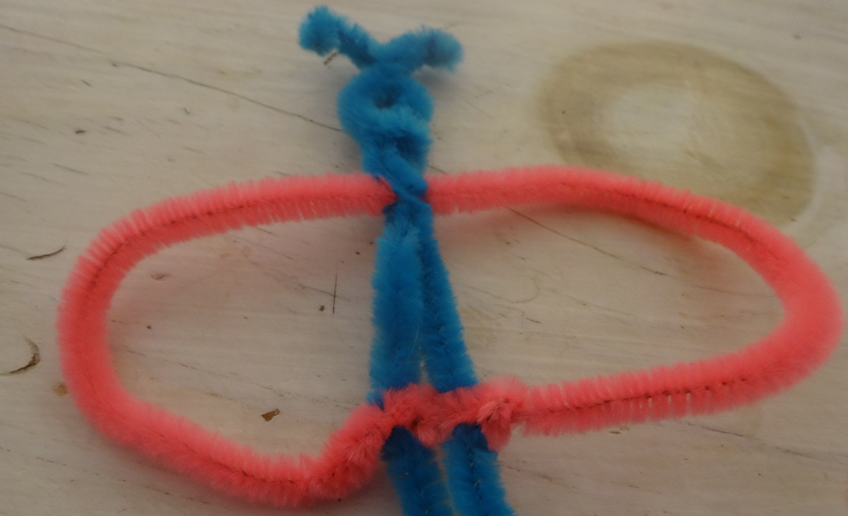 Fold the second pipe cleaner to meet att he base of the first and twist them together