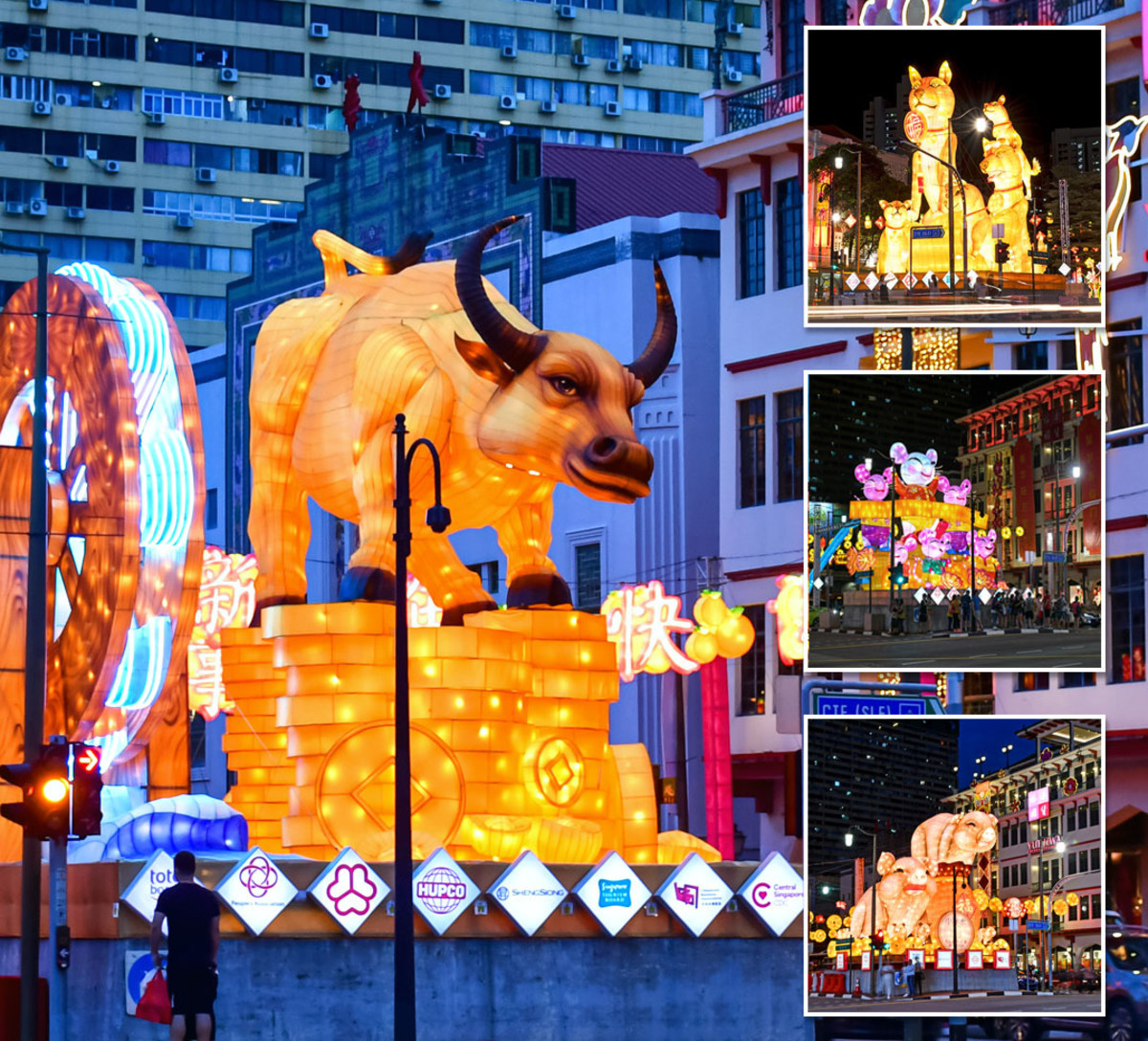 The incoming Chinese Zodiac animal for the New Year is always showcased at the Chinatown festive Light-Up. The showpiece for this picture is that for Year of the Ox 2021.