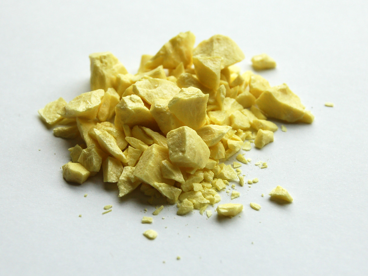 Sulphur is produced from volcanoes, and can be found most commonly in areas such as South America, Italy, and Greece.