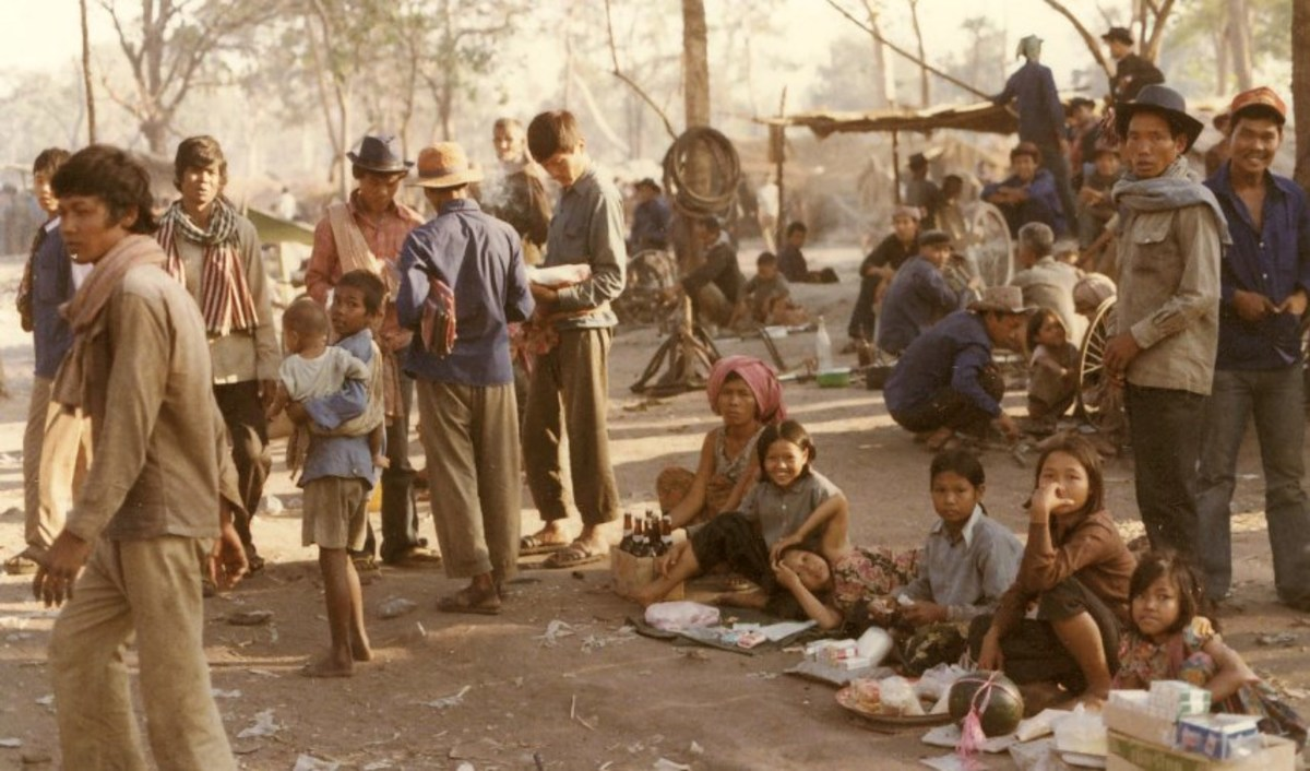 Source: Berta-Romero Fonte. Cambodian refugees in an border encampment in 1979.  More than 1.1 million Cambodians resettled In the United States, to make new lives free of genocide.