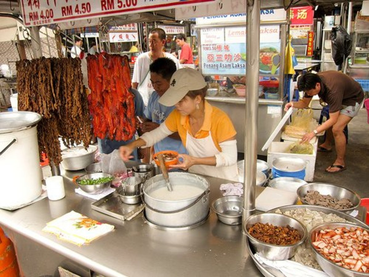 A fish porridge (congee) stand in China.