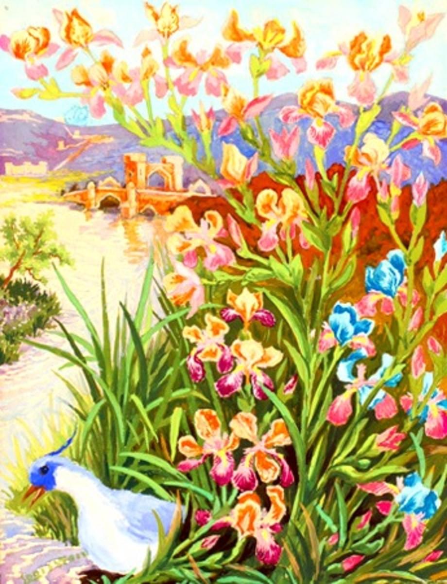 """Blue Tufted Bird and Beard Irises"""