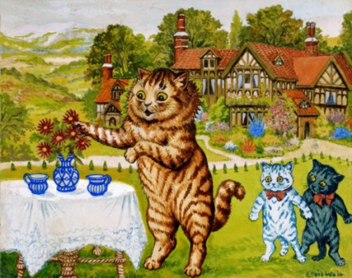Peter, Louis Wain's favorite cat, enjoys a garden tea party.