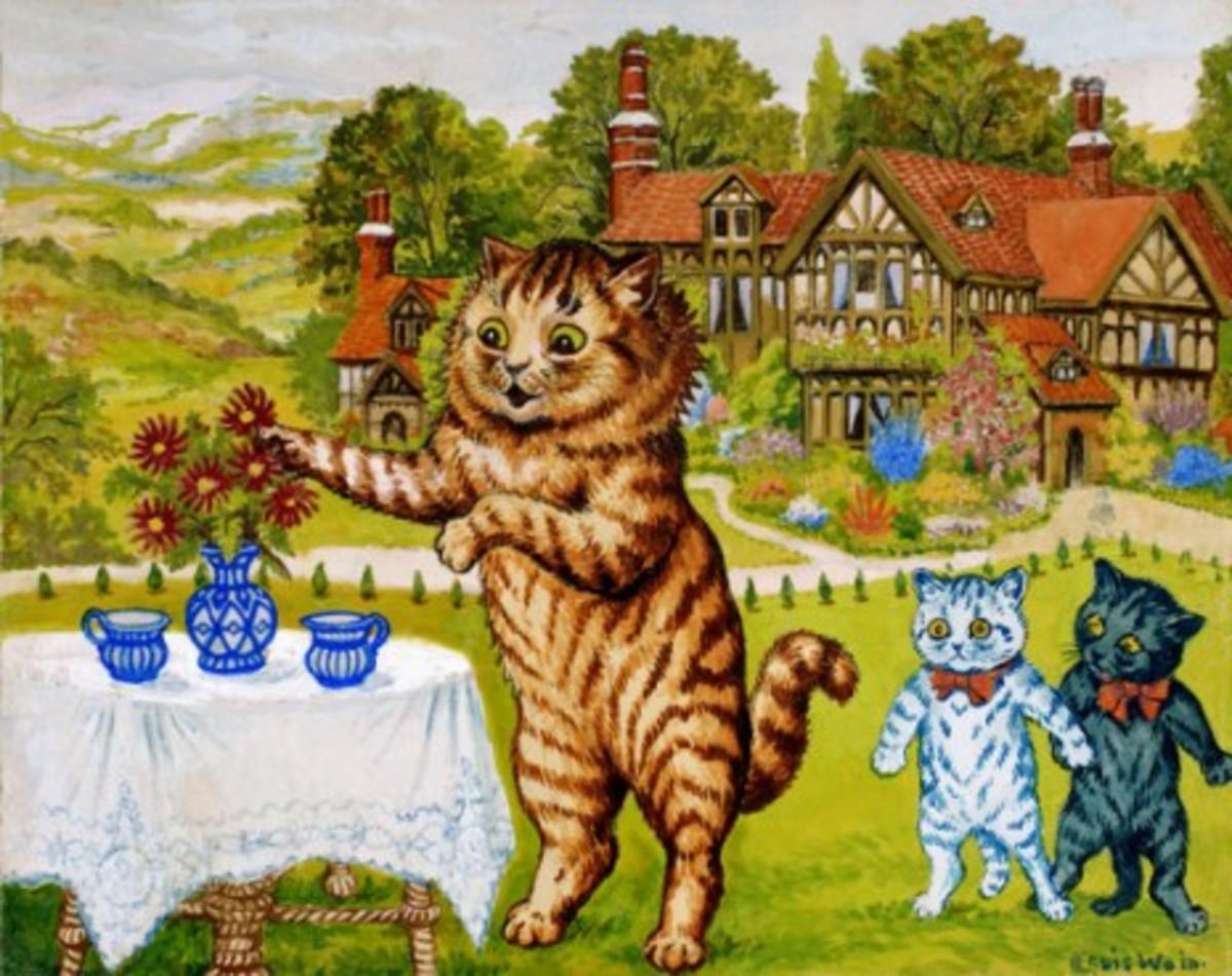 Peter, Louis Wain's favorite cat, enjoys a garden tea party.