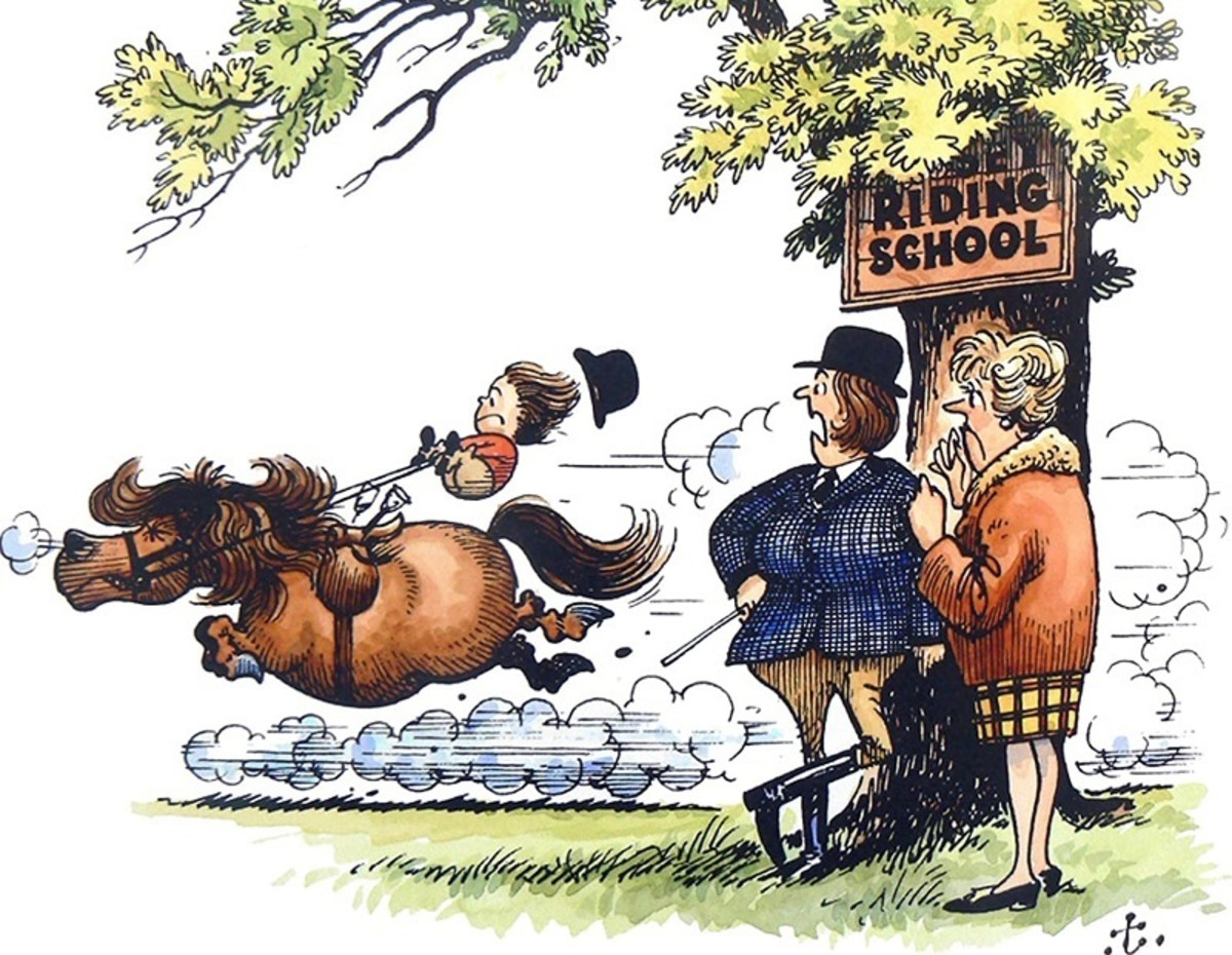 """The riding instructor is saying to the worried parent, """"She's not making very rapid progress, I'm afraid!"""" in this classic pony cartoon by Thelwell."""