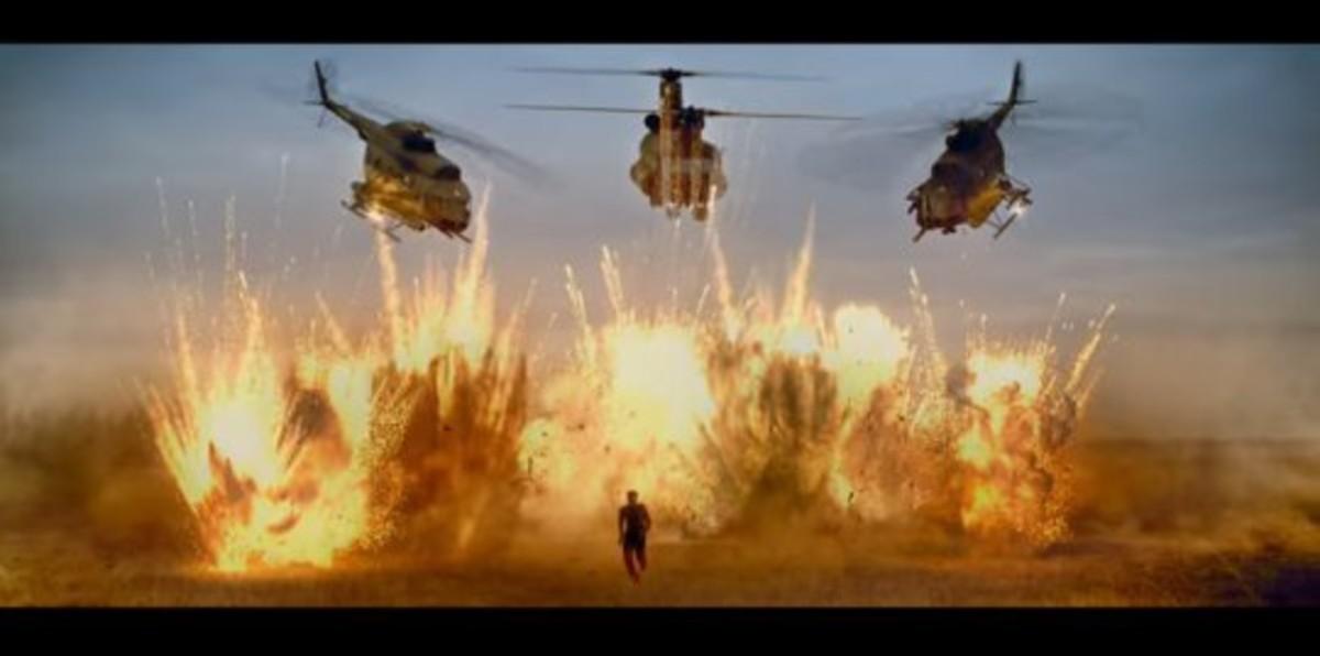 One man versus THREE military grade choppers? No problem!