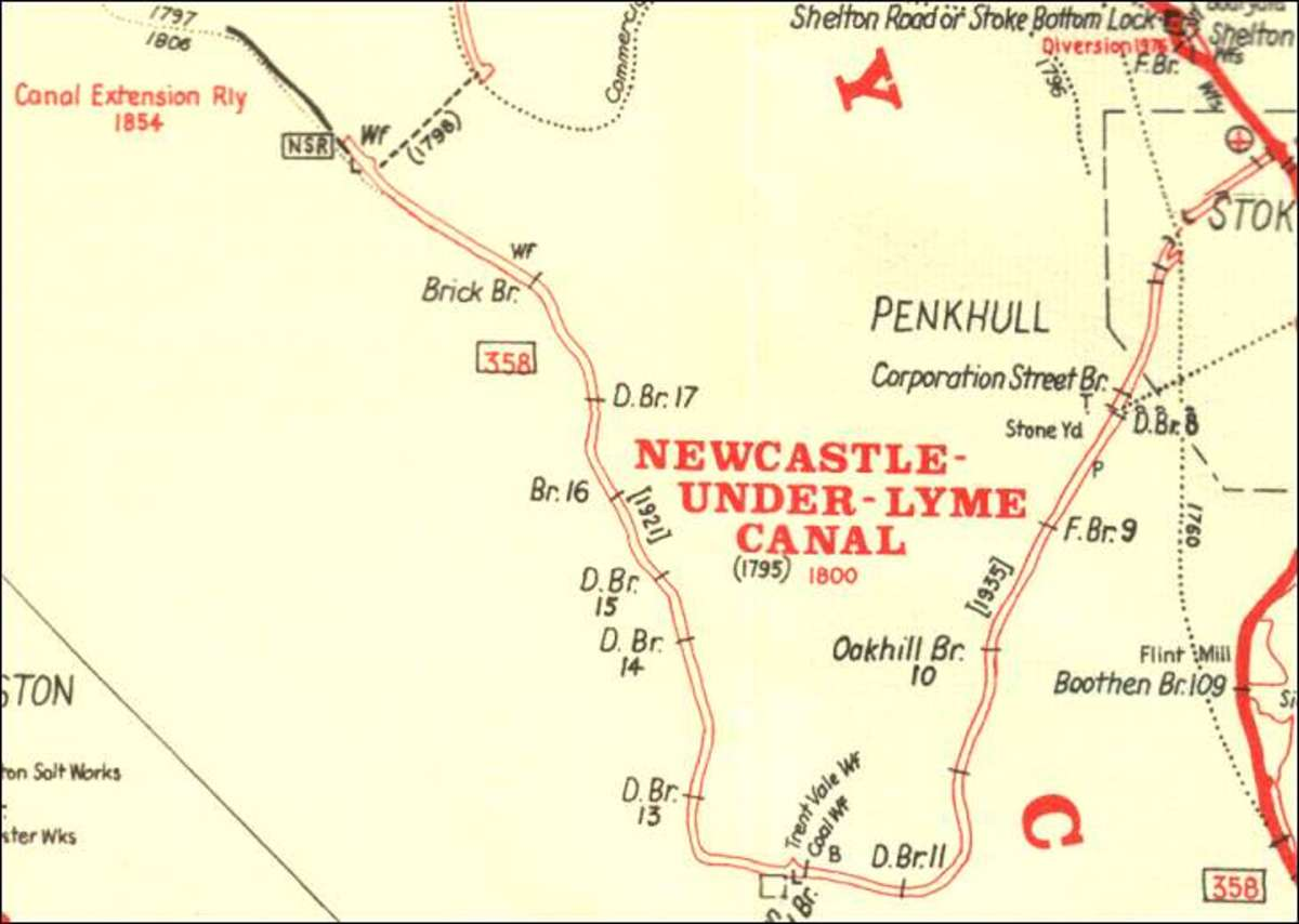 Map showing the route of the Newcastle-under-Lyme Canal