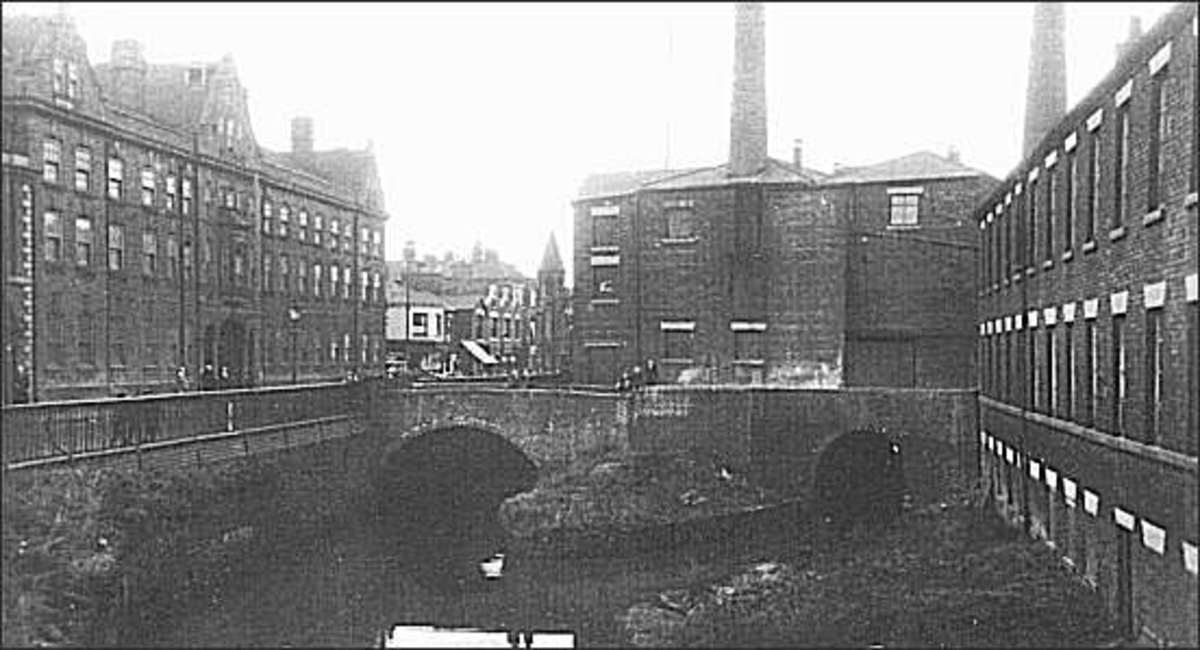 The two tunnels underneath Stoke town. Above the tunnel to the right is a flint mill, to the left is the Minton factory