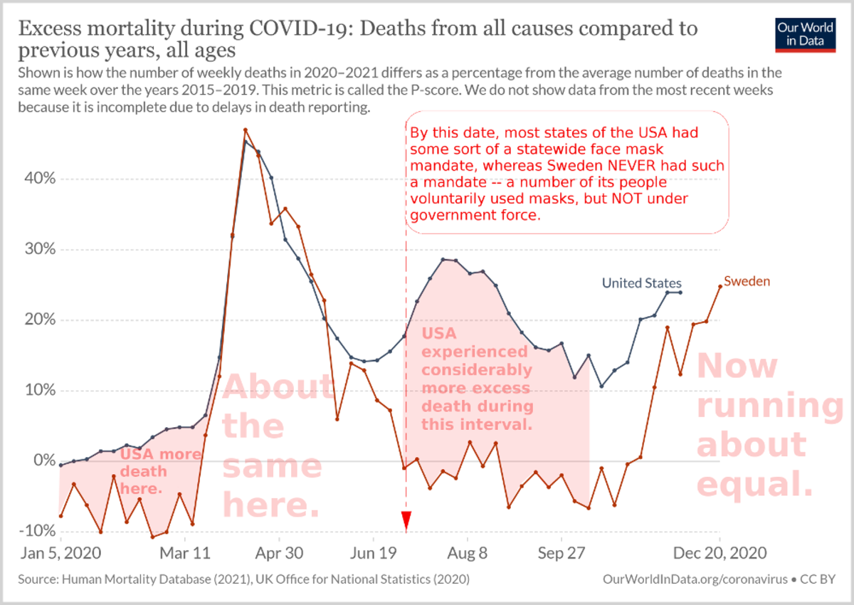 Figure 9. Graph comparing excess mortality for the United States and Sweden from January through December of 2020, adapted and notated by R. G. Kernodle