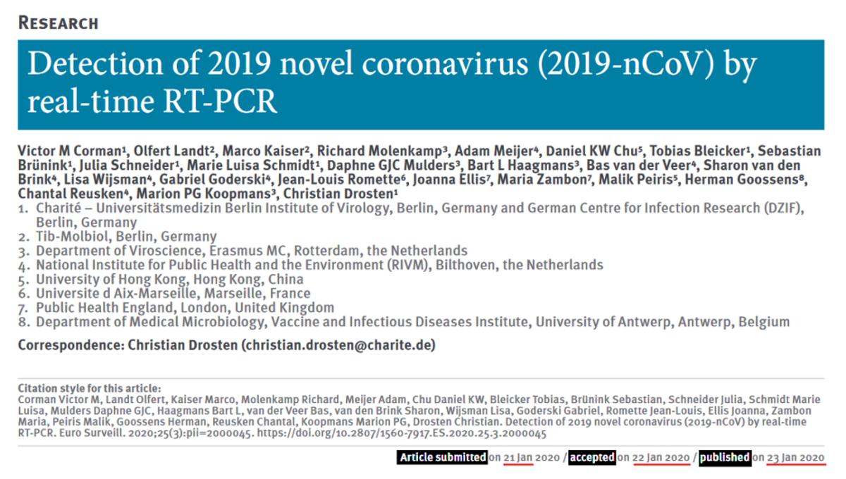 Header screen capture of Cormen, Drosten et al. paper