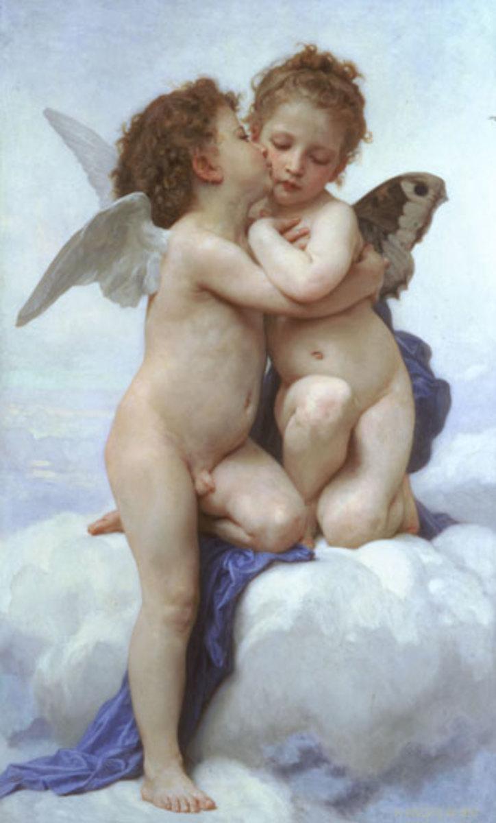 image of angel kissing children