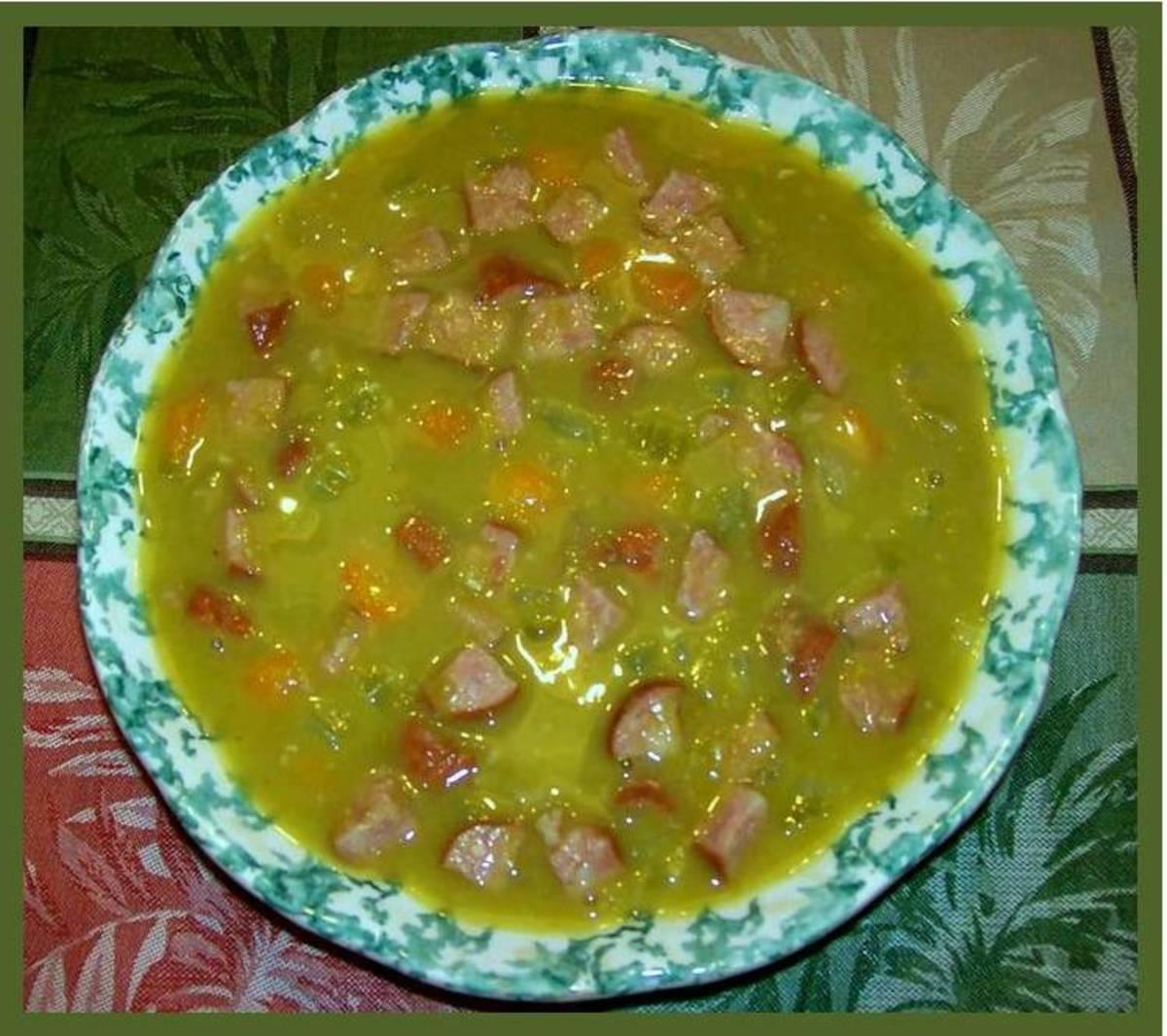 Split Pea & Skinless Polka Kielbasa Soup