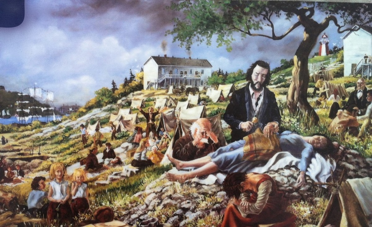 A painting of the Irish immigrants dying on Partridge Island