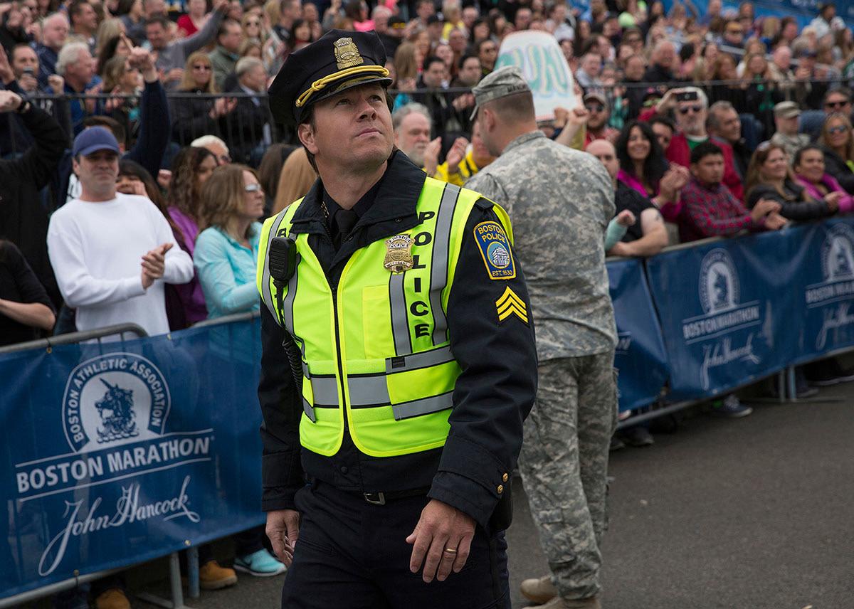 Sergeant Tommy Saunders patrolling at the Boston Marathon