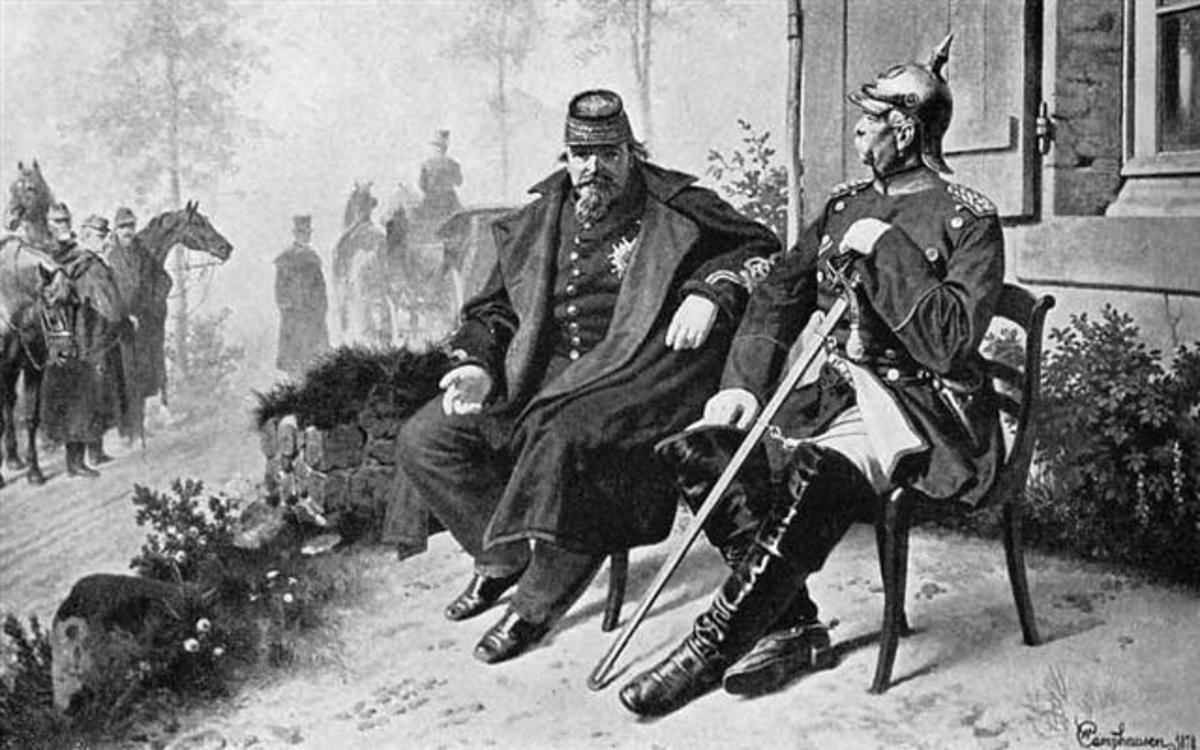 Napoleon, in a General's uniform, with Bismarck after the Battle of Sedan