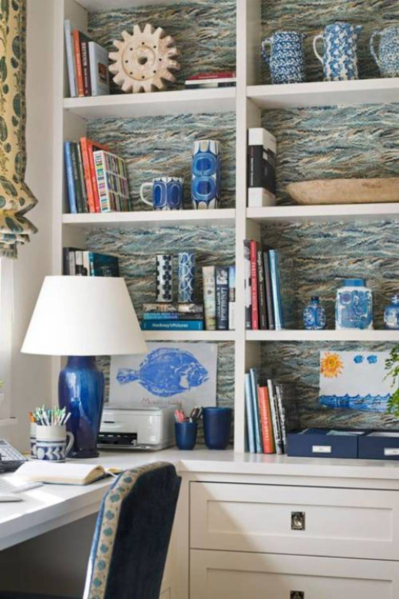 Apply wallpaper  bookcase the broad expanse of shelves in the home office