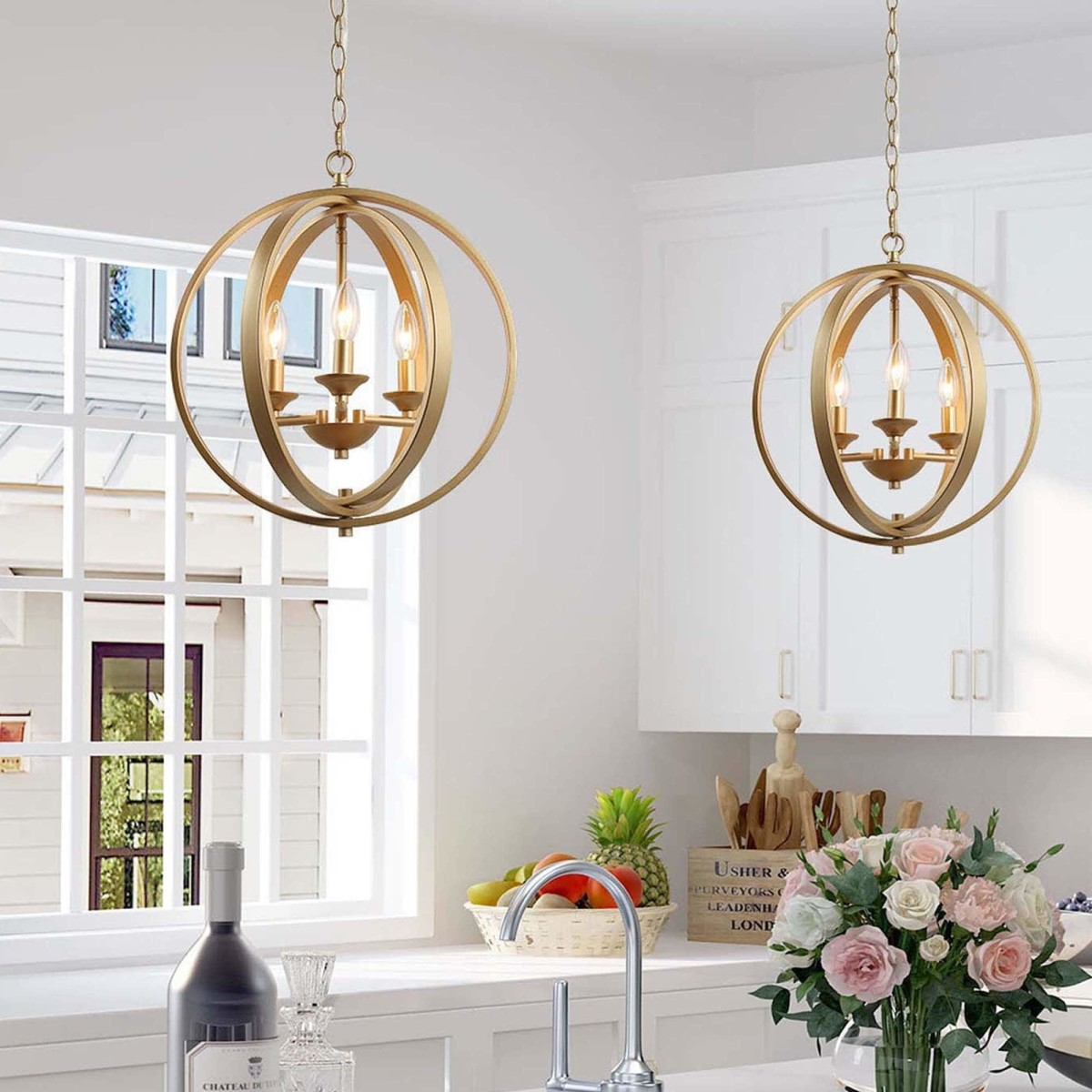 Orb circular fixtures are the gold ceiling lights in the kitchen.