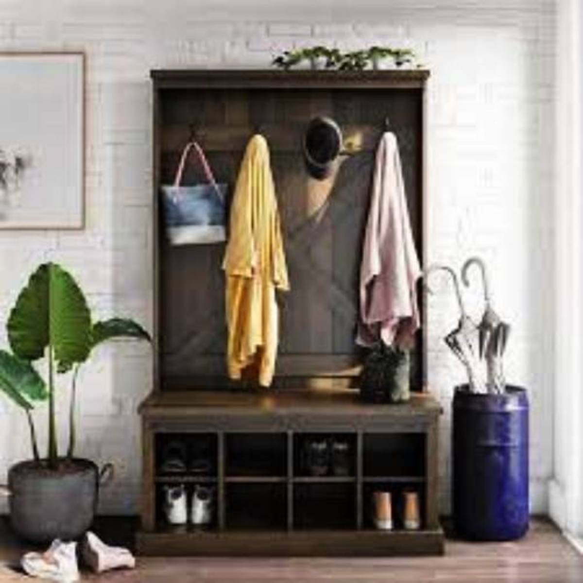 Organize in your entryway with the bench with hall tree.