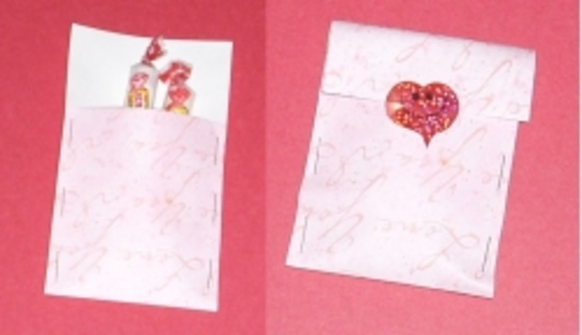 Paper pocket holds Valentine's Candy