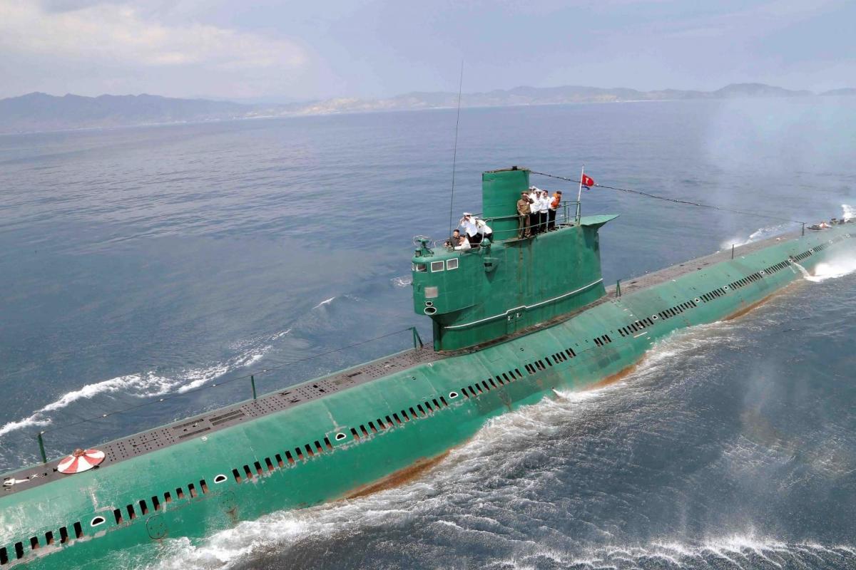 A North Korean submarine patrols the coast