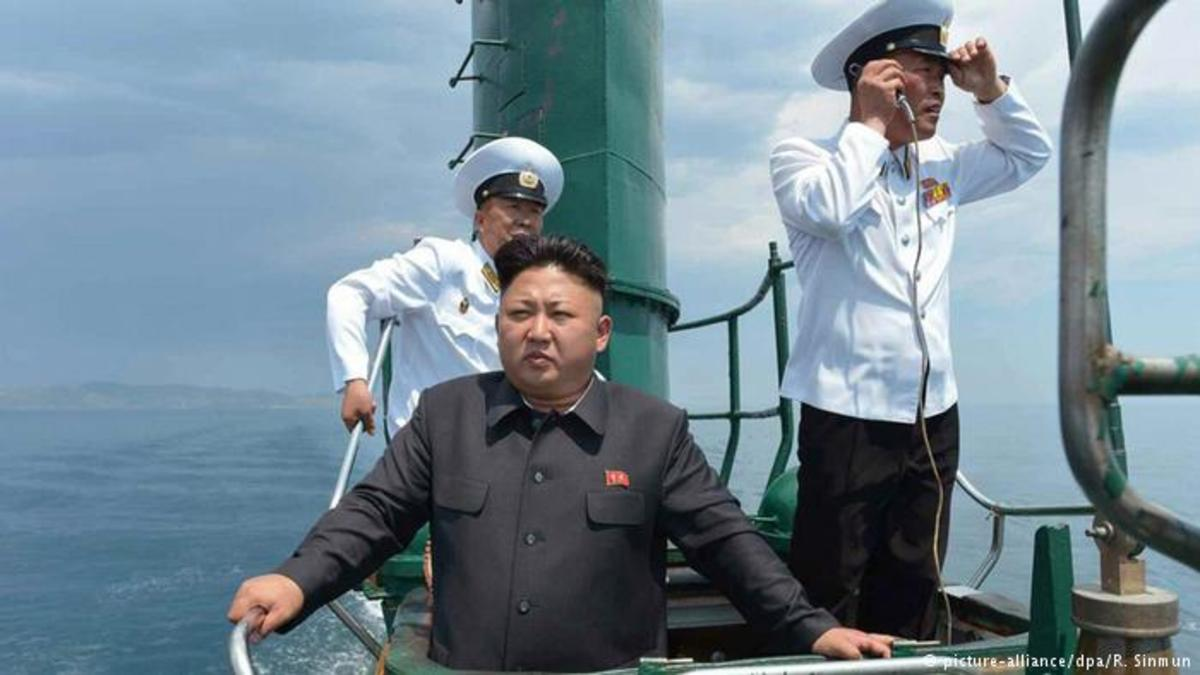 Kim Jong Un inspects part of his naval fleet of submarines, the 2nd largest fleet in the world.