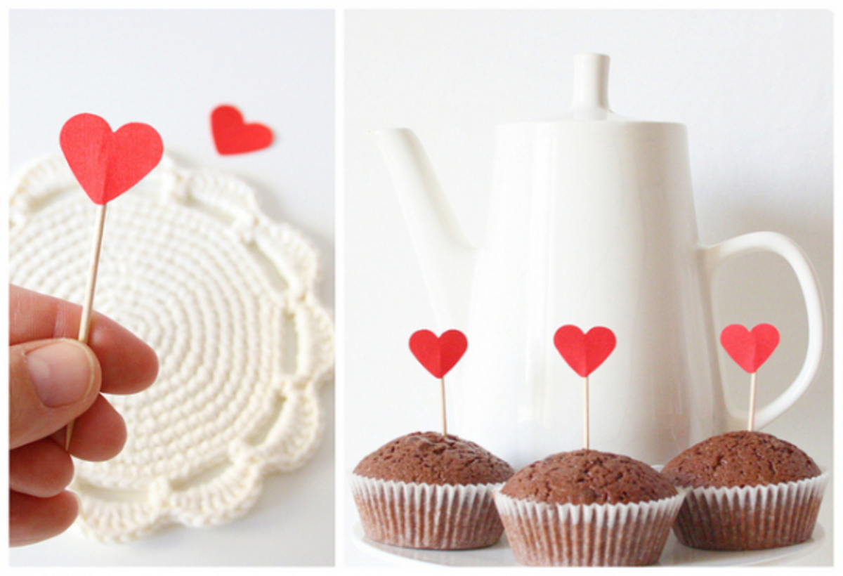 Simple little heart toppers which will make any cupcakes Valentine-themed!