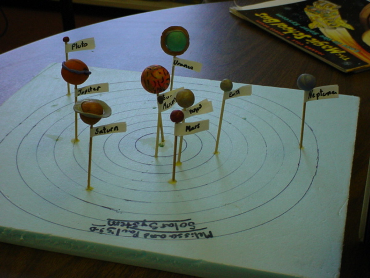 An excelent model of the solar system made by kids.