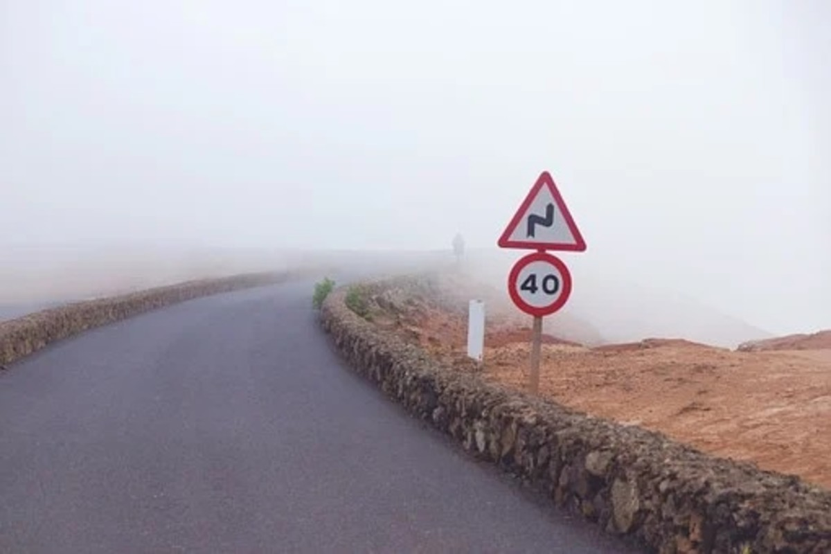 Careful driving at foggy conditions is essential to avoid head on collision