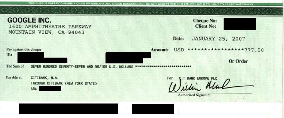 Sample of Check from Google Adsense- Not Mine