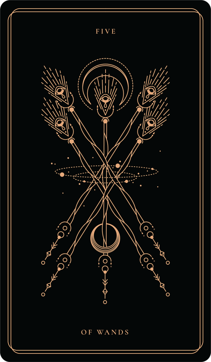 The Five of Wands is about conflict, too many cooks in the kitchen, disagreements, and battles. Everyone picks up a stick and fights -- it's unclear if there will be a winner.