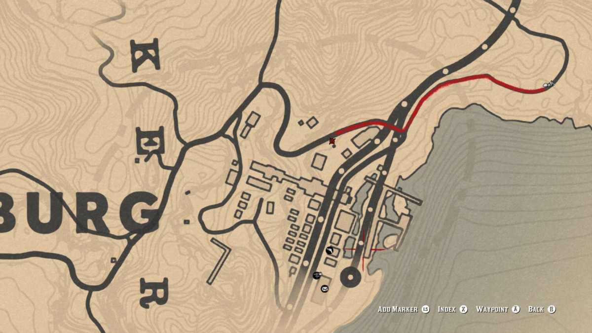 The Rusted Double Bit Hatchet is on the Northern tip of Annesburg