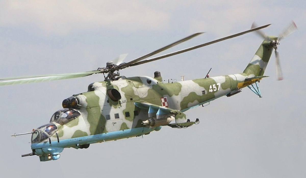 """The Mi-24 Hind, a """"transport"""" helicopter with impressive armor, a 12.7mm Gatling gun, rockets, and anti-tank missiles."""