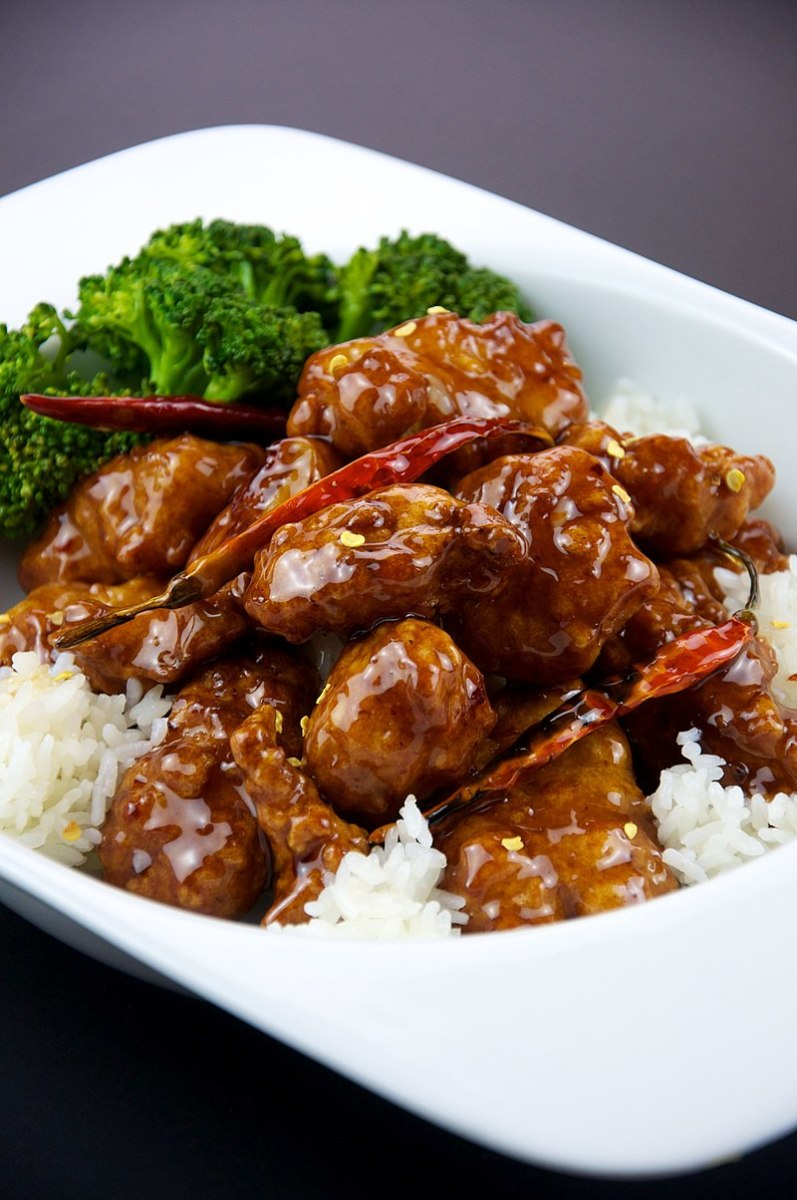 General Tso's Chicken On a Bed of Rice
