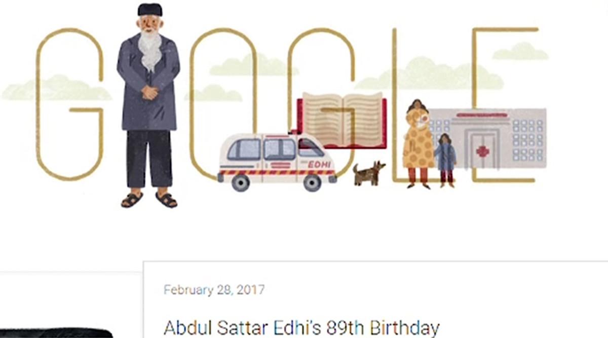 Google Doodle on Edhi's 89th Birthday