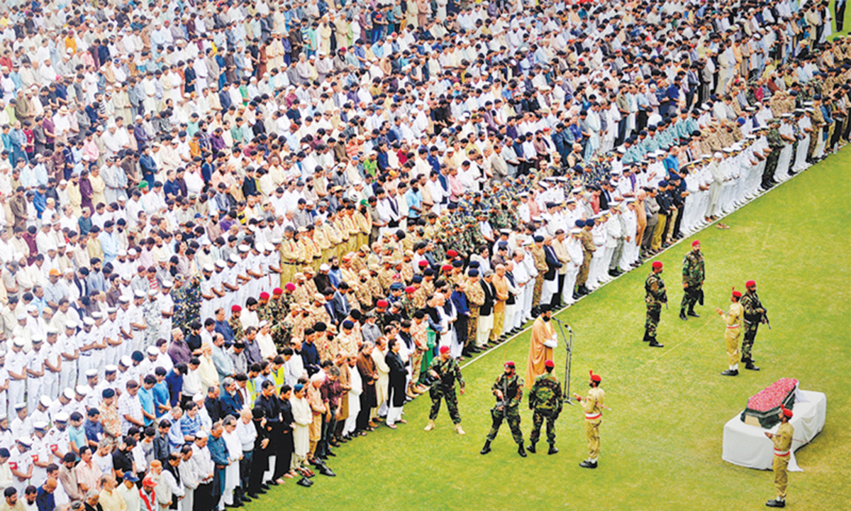 Funeral of 'saint' Edhi in national stadium, Karachi