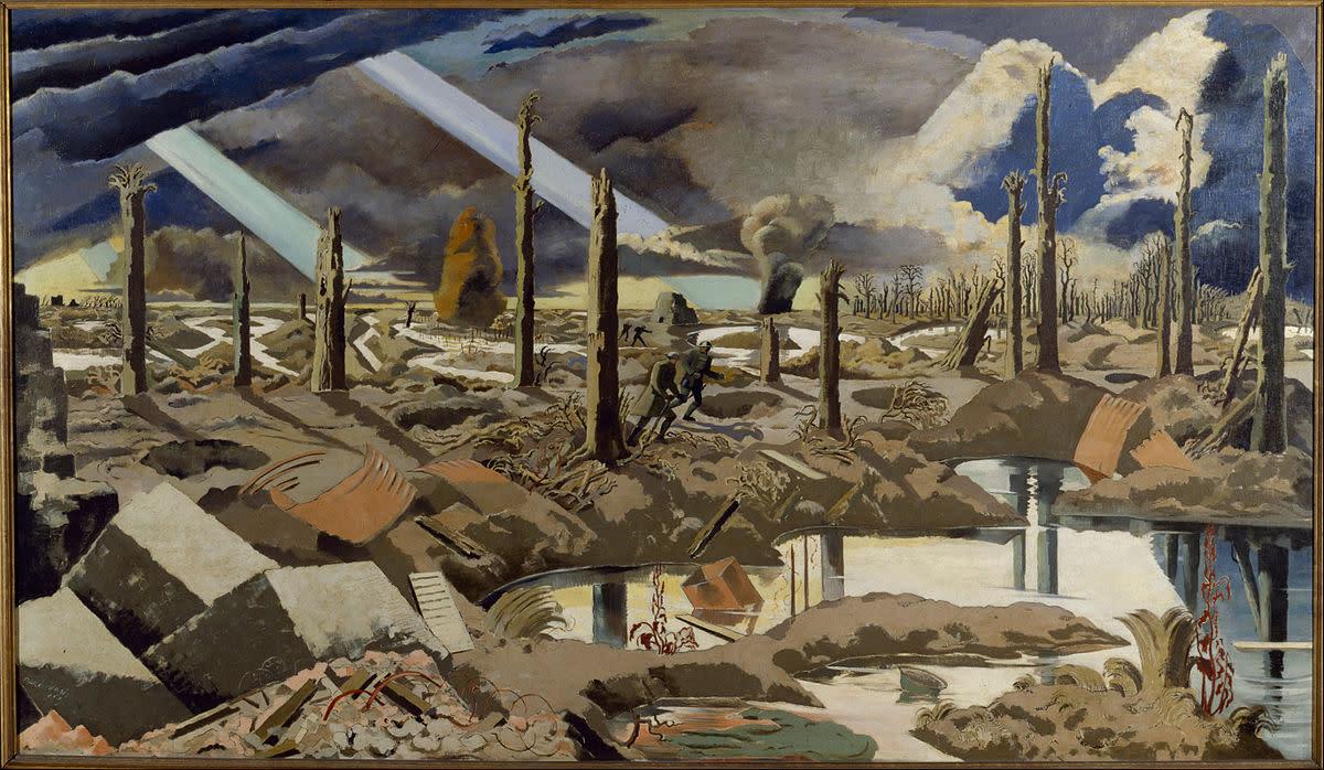 """""""Nash, Paul - The Menin Road - Google Art Project"""". Via Wikipedia - _The_Menin_Road_-_Google_Art_Project.jpg"""