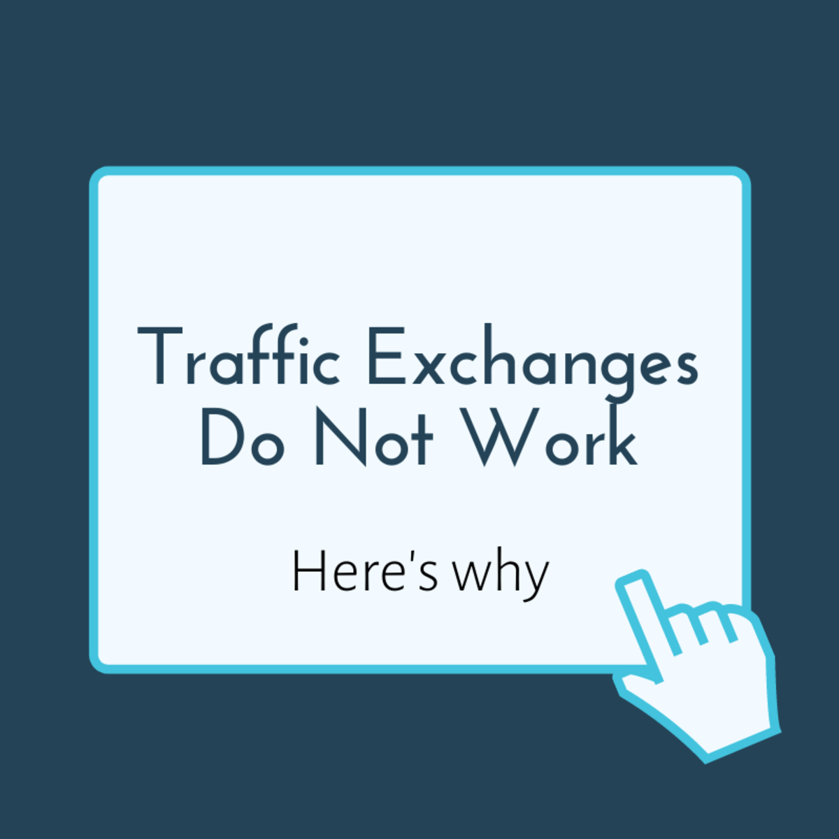 Traffic exchange websites do not work how you want them to, and they should be avoided.