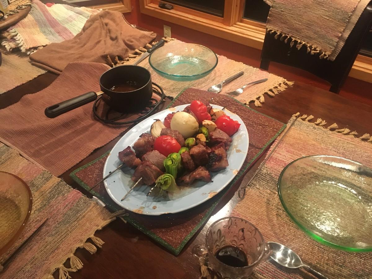 Ginger plum beef shish kabob